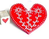 Red Heart Ceramic Ornament Eco Friendly Pottery Wedding Favor Mothers Day Gift