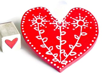 Christmas Ornament Red Heart Ceramic Ornament Eco Friendly Pottery Wedding Favor Mothers Day Gift