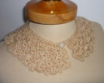 Peter Pan Collar, Crochet Collar, beige color, Detachable Collar Necklace, Beige crochet Collar, Valentines gifts,