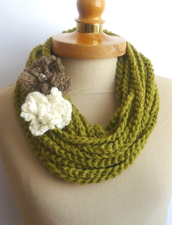 Olive Infinity Scarf, Crochet Necklace, olive color, scarflette, chain olive necklace,2  Knit Flower, gift under 20,