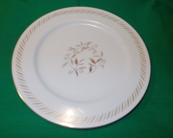 "One (1), 10 1/2"" Porcelain Dinner Plate, from Kyoto China, in the Belaire 8063 Pattern."