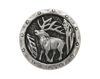 12 Antlers Elk 5/8 inch ( 15 mm ) Metal Buttons Silver Color