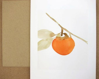 Orange Persimmon Blank Card