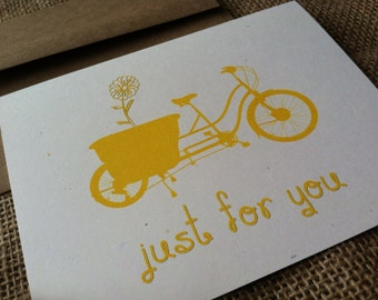 Just for you - Vintage Bike Series -  Note Card - Greeting Card - Recycled - Eco Friendly