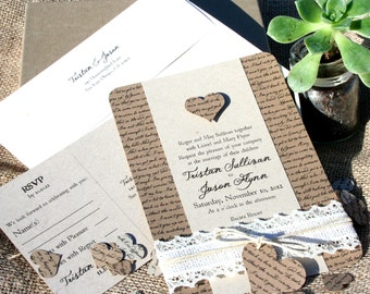 Lyrical Love Collection DEPOSIT - RUSTIC Wedding Invitation - Eco Friendly
