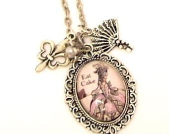 Marie Antionette 'Eat Cake' Charm Necklace Jewelry, Quote Necklace Jewelry, Picture Charm Necklace