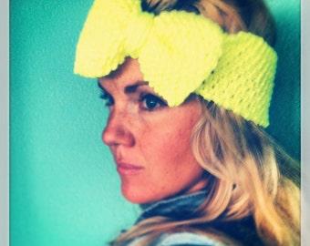 KNIT BOW HEADBAND Hand Knit Headband/Earwarmer in Neon Yellow with Big Floppy Bow, Knitted Head Band, Neon Bow Knit Headband