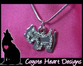 FREE SHIP to USA Sweet Scottish terrier or Schnauzer handstamped necklace with Swarovski crystals along a scottie dog