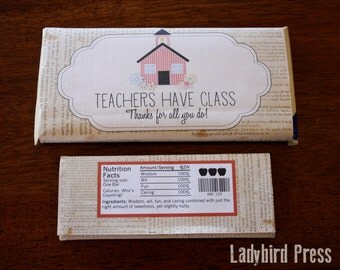 Teacher Appreciation Gift - Candy Bar Wrapper - Printable - PDF - School House