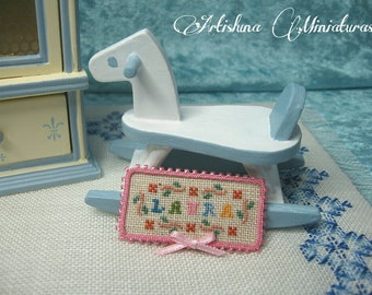Cross stitch picture miniature with your name, nursery, baby, handmade miniature - Dollhouses Miniature scale 1:12