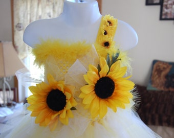 Yellow Sunflower Dress-Spring is in the air with this beautiful handmade yellow tutu dress with feather neck