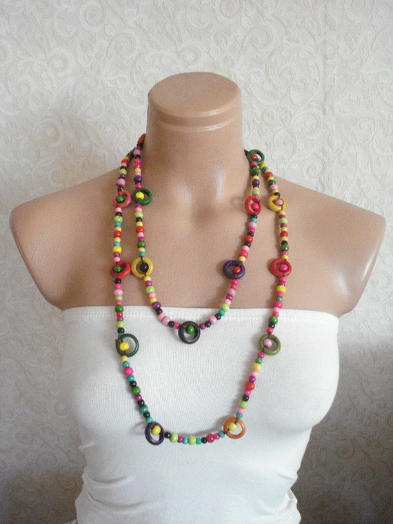 wooden beaded necklace, colorful necklace, colorful girls necklace, party favors, wooden beadworks, gift for girls womans