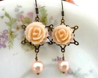 Peach Earrings Flower Earrings Pastel Pale Pearl Drops Peach Nude Flowers, Vintage Style, Resin Flower Earrings