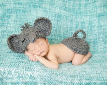 Gray elephant set crochet outfit photo prop hat with tushy topper bottom Dumbo newborn infant baby girl boy gift Alabama grey diaper cover
