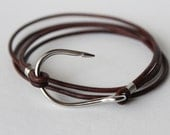 FREE SHIPPING in the USA - Stainless Steel Fish Hook and Dark Brown Leather Bracelet