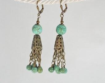 Turquoise-Magnesite-Brass-Dangle-Earrings
