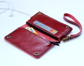 iPhone5 classic red   bifold leather iPhone wallet wristlet   with zipper