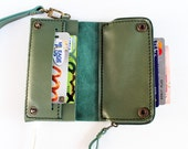 iPhone5 mute green  bifold leather  iPhone wallet