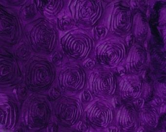 Splenda Satin Ribbon Rosette Purple 58 Inch Fabric by the Yard - 1 yard