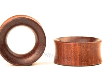 "1"" Pair Red Bloodwood Beveled Hollow Plugs Organic Hand Carved Wood Body Piercing Jewelry Gauge Earrings"