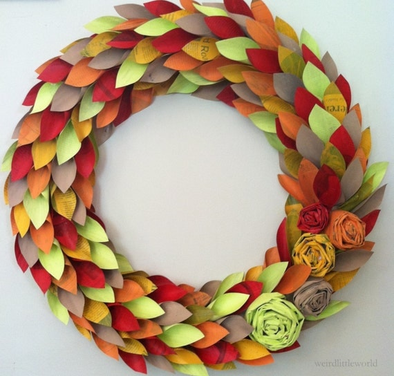fall wreath paper - fall colors - large 21 inch newspaper rosette and leaf