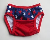 Swim Diaper - Infant Reusable Cloth - Patriotic 4th of July Stars - Custom Size