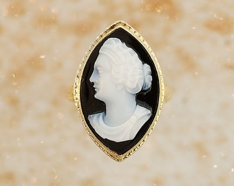 Antique Ring - Antique Carved Stone Cameo Ring