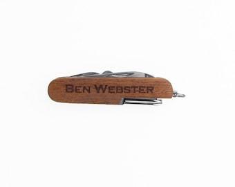 Gift for Groomsmen, Best Man Gift, Usher, Ring Bearer, Laser Engraved Rosewood Multi Tool Multitool Knife