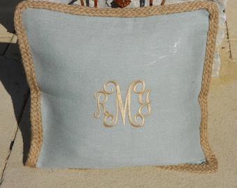 Monogram French Blue Burlap Pillow Cover  Font shown INTERLOCKING in khaki