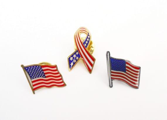 American Flag Lapel Pins - Set of 3 Vintage Flag Pins - US Flag Pins