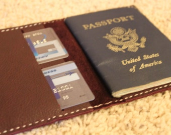 Handmade in USA! Leather Passport holder / wallet / case Burgundy Dublin