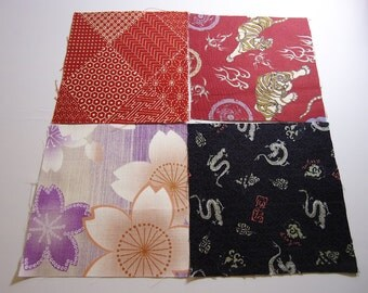 Four japanese fabric Scrap Pack.Pieces.n11
