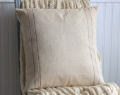 grain sack pillow cover // vintage grainsack fabric // 18 inch pillow cover // feed sack pillow cover // vintage fabric pillow cover