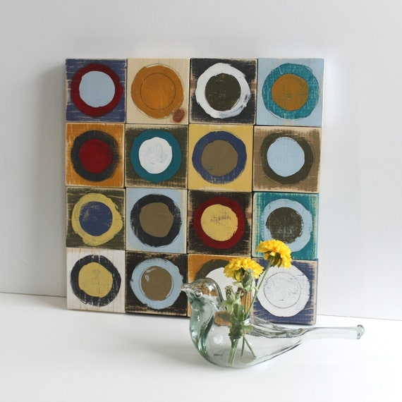 colorful painted circles distressed wood sign wall hanging, 15X15