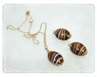 Brown Striped Art Glass  Vintage Necklace & Earrings   - 1713a-121012000