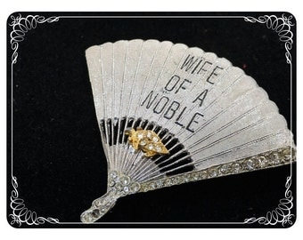 Wife of a Noble Shriners Brooch - Silvertone Fan  w Rhinestones   2049a-122512000