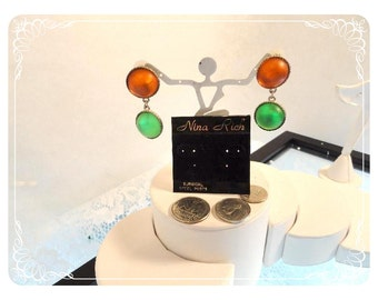 Old Store Stock Earrings - Nina Rich Neon Lights Pierced Dangling Earrings Green & Orange E814a-081412000