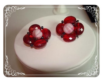 Red Lucite Bead Earrings - Clip ons Signed W. Germany   E164a-040812000