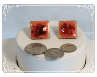 Enamel Copper Pink Red Abstract Square Screwback Earrings  E2257a-080712000