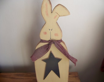 Primitive Rustic Wooden Easter Bunny Wall Hanger/Shelf Sitter For Easter And Spring