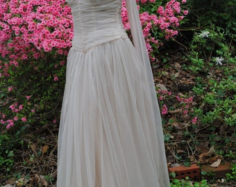 1950 Pale Pink Evening Gown Prom Dance Dress VLV Burlesque Small  SALE