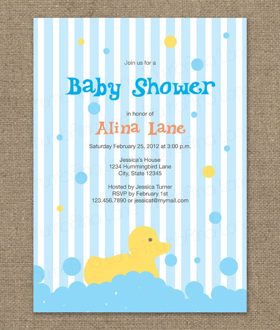 rubber ducky printable baby shower invitation color options
