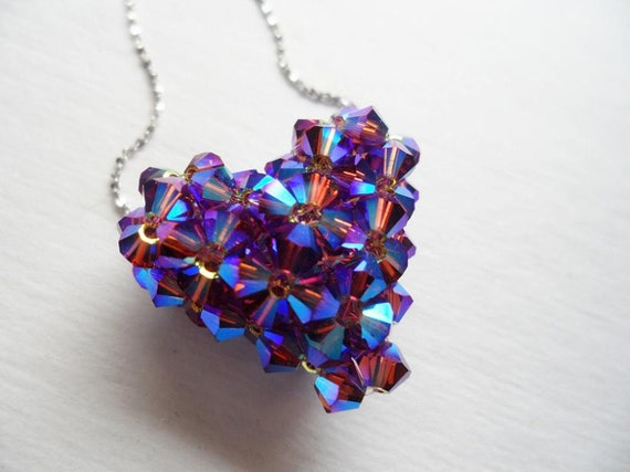 Purple Aurora Borealis Swarovski Crystal Puffy 3D Heart Pendant with Sterling Silver Italian Chain Necklace