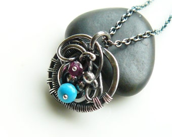 Wire wrapped pendant with Turquoise and Garnet - Sterling and Fine silver charm