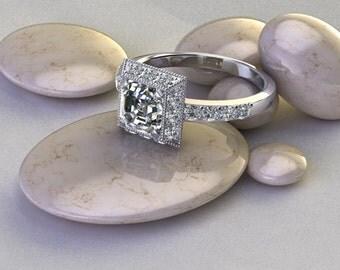 Asscher Cut Diamond Halo Engagement Ring 14 K white Gold Art Deco Diamond Half Eternity