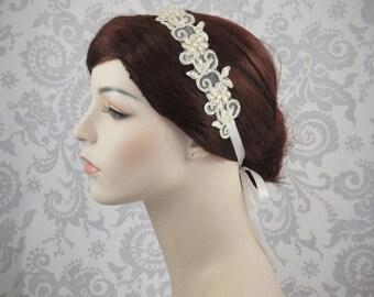 Champagne Lace Beaded Headband with Satin Ribbons, Bridal Lace Headband in Ivory, White, Champagne, or Black Boho Headband. - 103HB