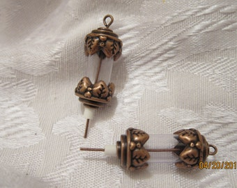 "15mm Round Tube with Bead ends and 1-1/2"" Eyepin, Antiqued Copper-Finished Brass and Pewter, 24x12mm - 2 Charms or choose a Larger Pkg"