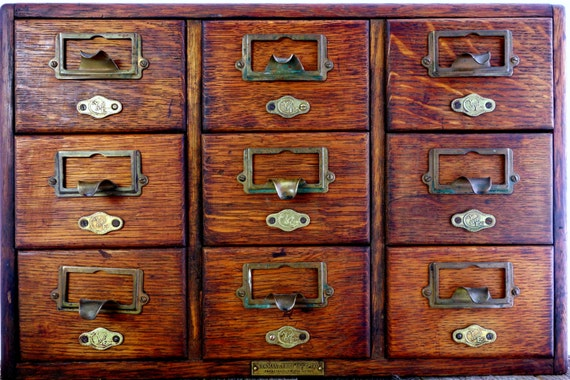RESERVED for Kristen- Vintage Library Card Catalog - Yawman and Erbe 9  Drawer Tiger Oak