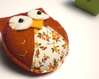 Felt Owl Brooch Brown, Felt Brooch, Felt Owl, Felt Owl Brooch, Brown Owl, Felt Pin, Owl Pin, Handmade