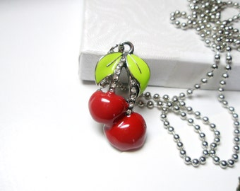 Cherry necklace - Cherries jewelry, Red charm- Fruit necklace